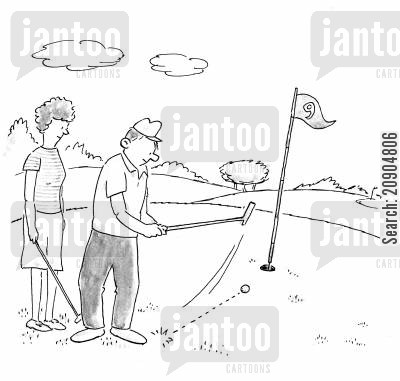 put off cartoon humor: Wife puts her husband off at golf.