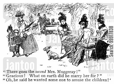 rumor cartoon humor: Women gossiping about a man's new wife.