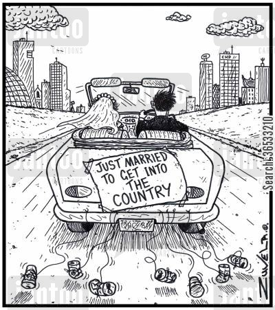 green cards cartoon humor: Just married to get into the country.