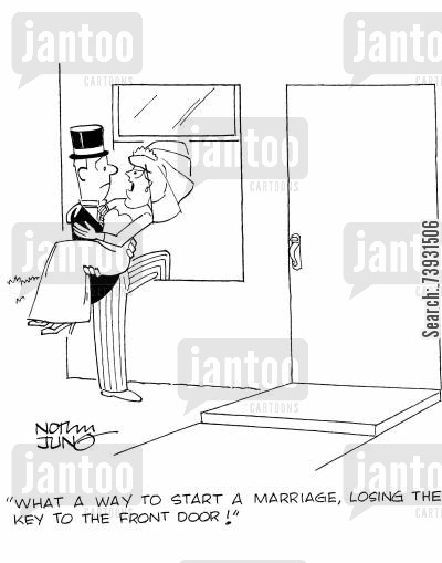 bad starts cartoon humor: 'What a way to start a marriage, losing the key to the front door!'