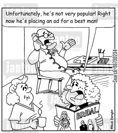 popularity cartoon humor: 'Unfortunately he's not very popular! Right now he's placing an ad in the paper for a best man!'