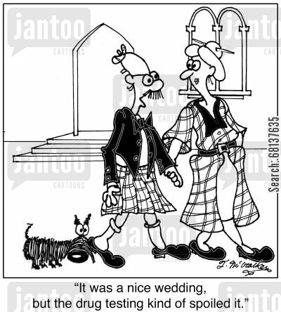drug testing cartoon humor: 'It was a nice wedding, but the drug testing kind of spoiled it.'