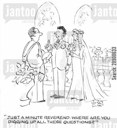 guilty consciences cartoon humor: 'Just a minute Reverend, where are you digging up all these questions?'