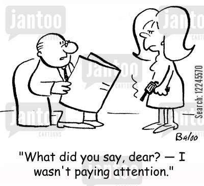 gun cartoon humor: 'What did you say, dear? -- I wasn't paying attention.'
