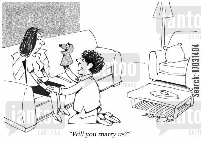 hand puppet cartoon humor: 'Will you marry us?'