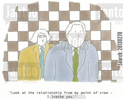 splits cartoon humor: 'Look at the relationship from my point of view - I loathe you.'