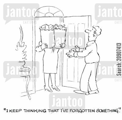 shopping bag cartoon humor: 'I keep thinking that I've forgotten something.'