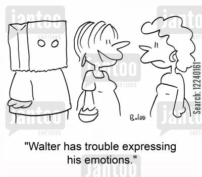 expressing cartoon humor: 'Walter has trouble expressing his emotions.'