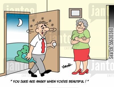 slurring cartoon humor: You sure are angry when you're beautiful!
