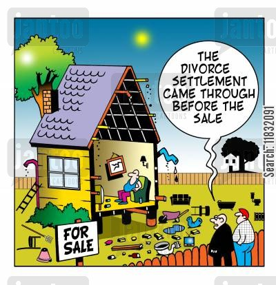 house sale cartoon humor: The divorce settlement came through before the sale.