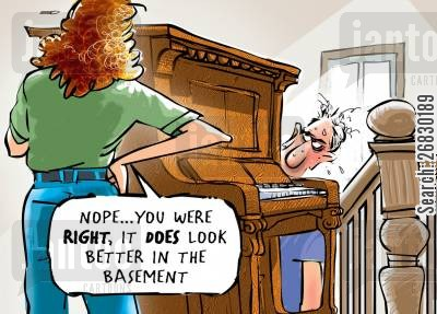 stairs cartoon humor: 'Nope... you were right, it does look better in the basement.'