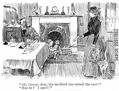 landlord cartoon humor: 'Oh george dear, the landlord has raised the rent!' 'Has he? I can't!'