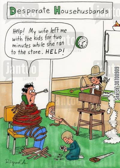 desperate housewives cartoon humor: Desperate Househusbands: 'Help! My wife left me with the kids for two minutes while she ran to the store. Help!'
