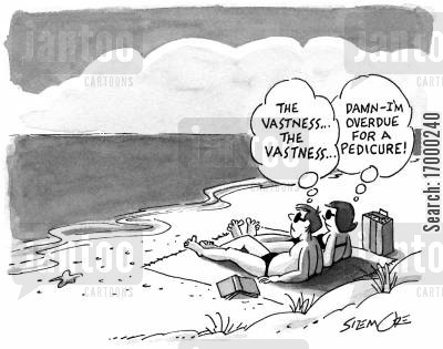 picturesque view cartoon humor: Differing thoughts of male and female.