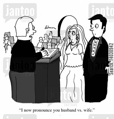 battle of the sexes cartoon humor: 'I now pronounce you husband vs. wife.'