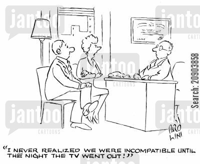 seperations cartoon humor: 'I never realized we were incompatible unitl the night the TV went out.'