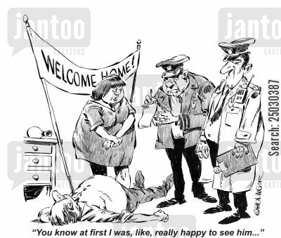 alibi cartoon humor: 'You know at first I was, like, really happy to see him...'