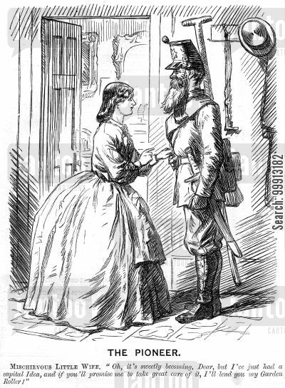 dressed cartoon humor: Mischevious wife with husband in uniform