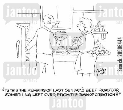 left overs cartoon humor: 'Is this the remains of last Sunday's beef roast, or something left over from the dawn of creation?'