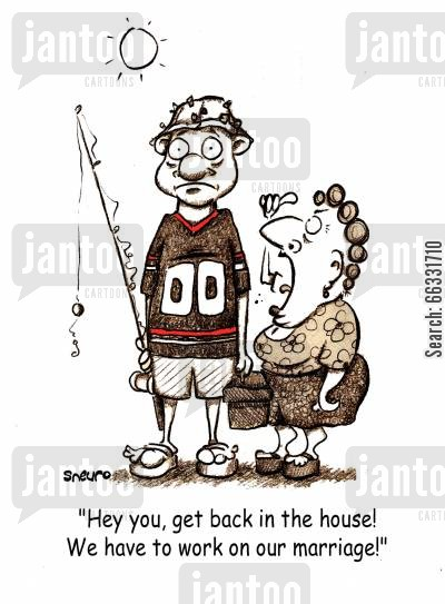 nagging cartoon humor: 'Hey you, get back in the house! We have to work on our marriage!'