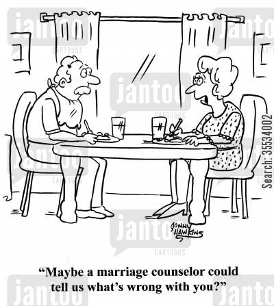 marriage counseling cartoon humor: Woman to husband: 'Maybe a marriage counselor could tell us what's wrong with you?'