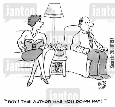 extra marital cartoon humor: 'Boy! This Author has you down Pat!'