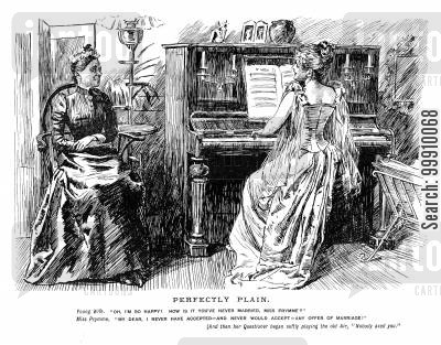 offer of marriage cartoon humor: Young wife playing the piano
