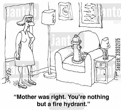 mixed marriage cartoon humor: ''Mother was right. You're nothing but a fire hydrant.'