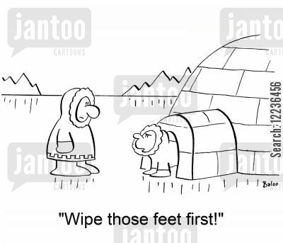dirty feet cartoon humor: 'Wipe those feet first!'