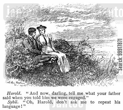 disapproval cartoon humor: 'And now, darling, tell me what your father said when you told him we were engaged.' 'Oh Harold, don't ask me to repeat his language!'