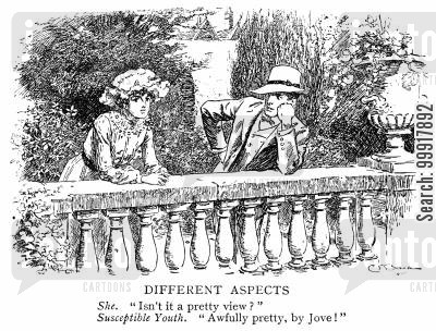 romanticism cartoon humor: She. 'Isn't it a pretty view?' Susceptible Youth. 'Awfully pretty, by Jove!'