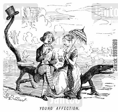 benches cartoon humor: Young affection