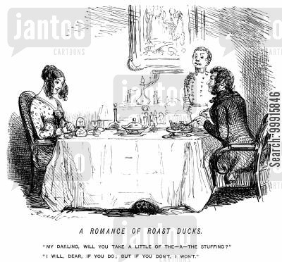 meal cartoon humor: A romantic young couple dining