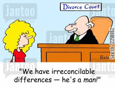 divorce judge cartoon humor: 'We have irreconcilable differences -- he's a MAN!'