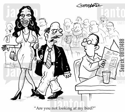 sugar daddies cartoon humor: 'Are you not looking at my bird?'