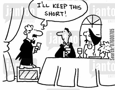 midgets cartoon humor: 'I'll keep this short!'