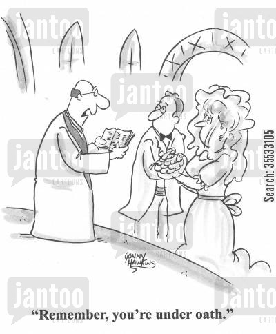 man and woman cartoon humor: Minister to marrying couple: 'Remember, you're under oath.'