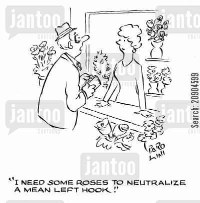black eye cartoon humor: 'I need some roses to neutralize a mean left hook.'