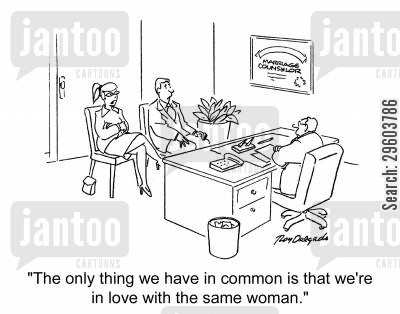 marriage issues cartoon humor: 'The only thing we have in common is that we're in love with the same woman.'
