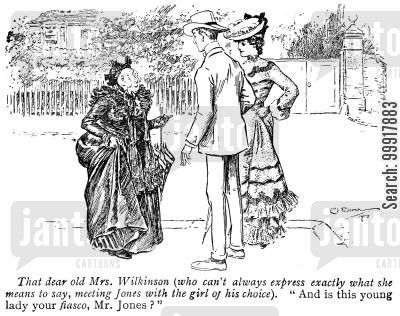 language cartoon humor: 'And is this young lady your fiasco, Mr. Jones?'