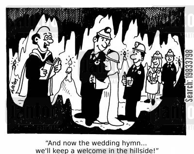 bridegroom cartoon humor: 'And now the wedding hymn... we'll keep a welcome in the hillside!'