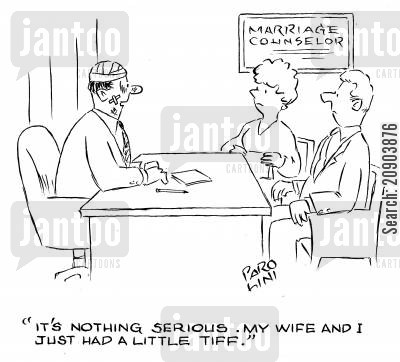 marriage counseling cartoon humor: 'It's nothing serious. My wife and I just had a little tiff.' (Marriage counselor covered in bruises, cuts and bandages).