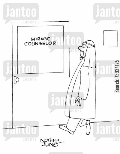 marriage counselors cartoon humor: Mirage counselor.