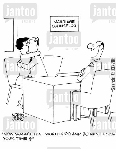 marriage counselors cartoon humor: 'Now, wasn't that worth $100 and 30 minutes of your time?'
