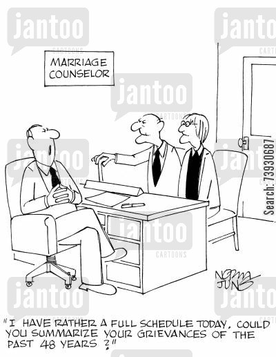 grievances cartoon humor: 'I have rather a full schedule today. Could you summarize your grievances of the past 48 years?'