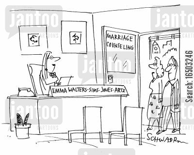 surname cartoon humor: Marriage counsellor with multiple surnames.