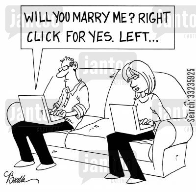 marriage proposal cartoon humor: Right click for yes...