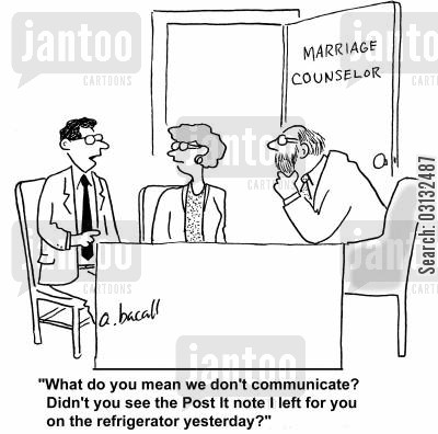 post sticks cartoon humor: What do you mean we don't communicate? Didn't you see the Post It note I left for you on the refrigerator yesterday