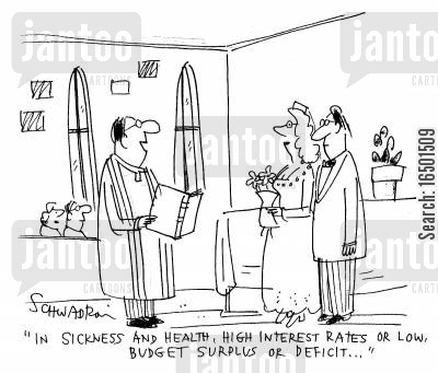 marriage vows cartoon humor: In sickness and in health, high interest rates or low....