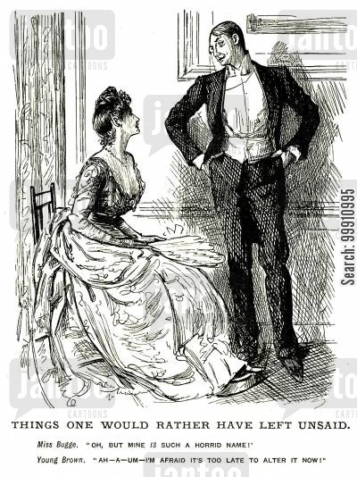 missus cartoon humor: Lady speaking to a man about her name